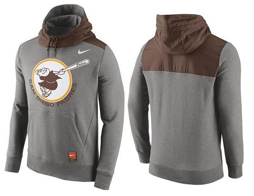 MLB Men's San Diego Padres Nike Gray Cooperstown Collection Hybrid Pullover Hoodie