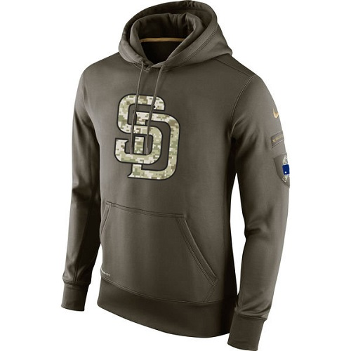MLB Men's San Diego Padres Nike Olive Salute To Service KO Performance Hoodie