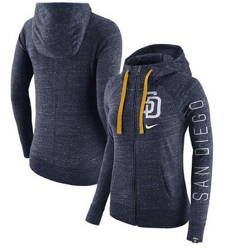 MLB San Diego Padres Nike Women's Vintage Full-Zip Hoodie - Heather Navy