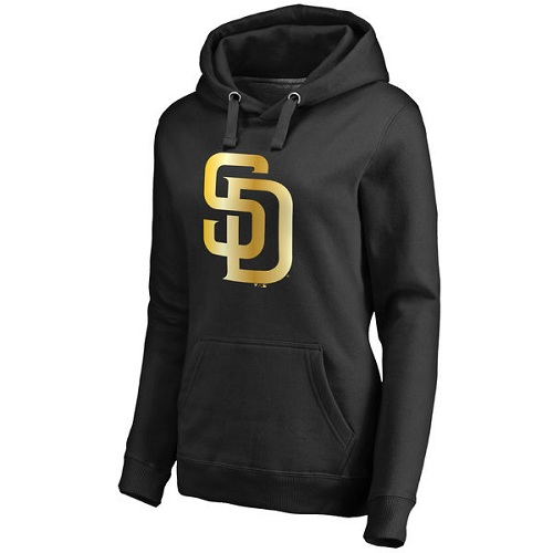 MLB San Diego Padres Women's Gold Collection Pullover Hoodie - Black