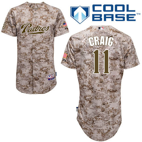 Men's Majestic San Diego Padres #11 Allen Craig Authentic Camo Alternate 2 Cool Base MLB Jersey