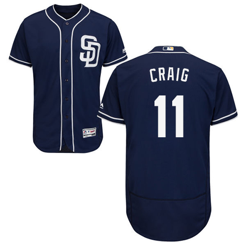 Men's Majestic San Diego Padres #11 Allen Craig Navy Blue Alternate Flex Base Authentic Collection MLB Jersey
