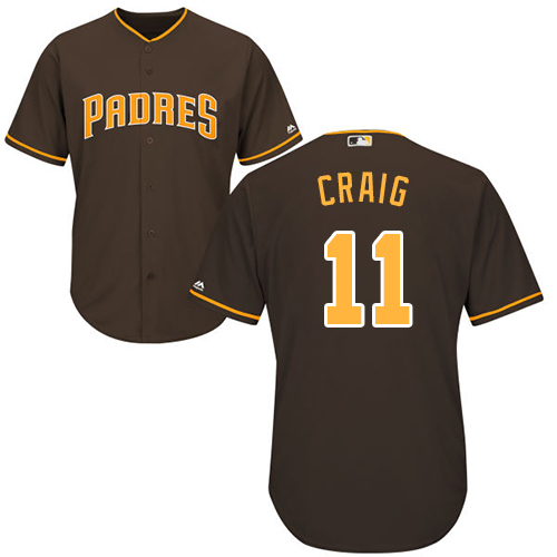 Men's Majestic San Diego Padres #11 Allen Craig Replica Brown Alternate Cool Base MLB Jersey
