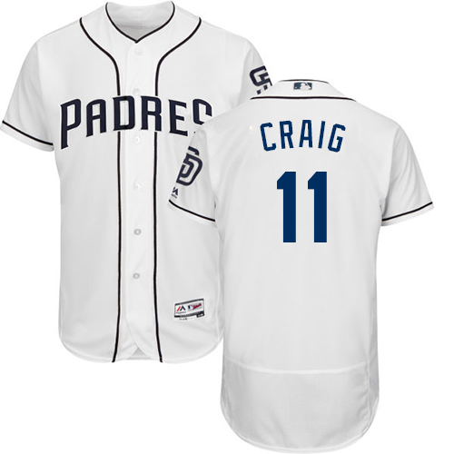 Men's Majestic San Diego Padres #11 Allen Craig White Home Flex Base Authentic Collection MLB Jersey