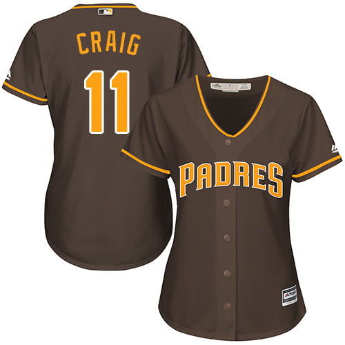 Women's Majestic San Diego Padres #11 Allen Craig Authentic Brown Alternate Cool Base MLB Jersey