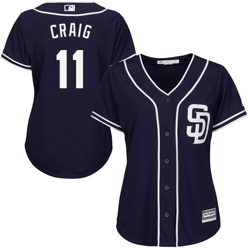 Women's Majestic San Diego Padres #11 Allen Craig Authentic Navy Blue Alternate 1 Cool Base MLB Jersey