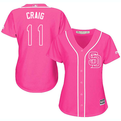 Women's Majestic San Diego Padres #11 Allen Craig Authentic Pink Fashion Cool Base MLB Jersey