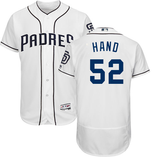 Men's Majestic San Diego Padres #52 Brad Hand White Flexbase Authentic Collection MLB Jersey