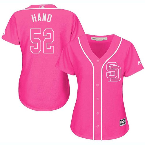 Women's Majestic San Diego Padres #52 Brad Hand Authentic Pink Fashion Cool Base MLB Jersey