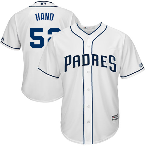 Youth Majestic San Diego Padres #52 Brad Hand Replica White Home Cool Base MLB Jersey