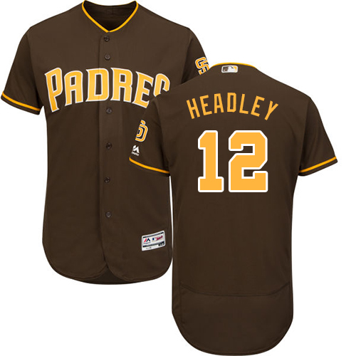 Men's Majestic San Diego Padres #12 Chase Headley Brown Alternate Flex Base Authentic Collection MLB Jersey
