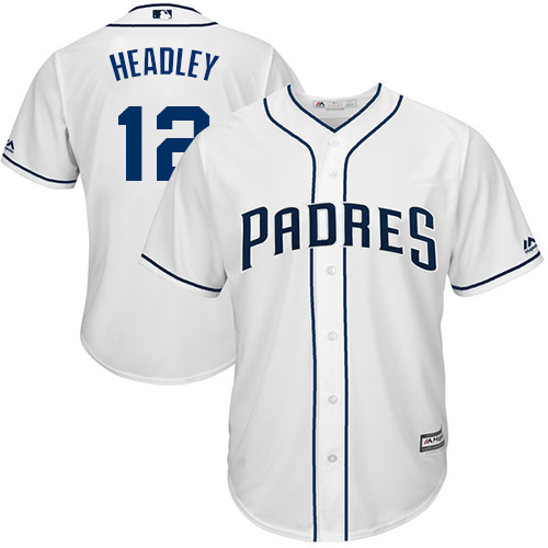 Men's Majestic San Diego Padres #12 Chase Headley Replica White Home Cool Base MLB Jersey