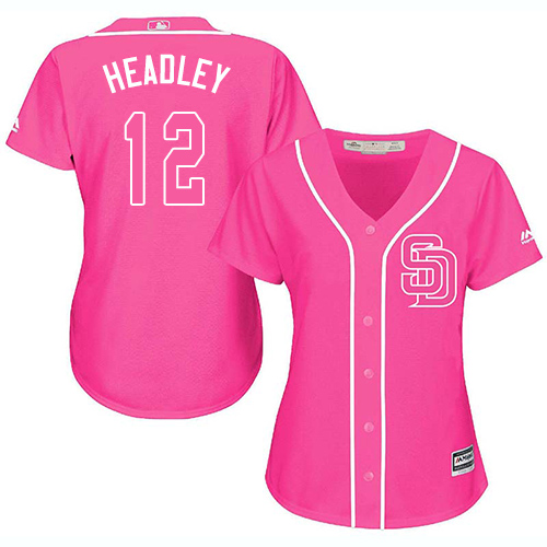 Women's Majestic San Diego Padres #12 Chase Headley Authentic Pink Fashion Cool Base MLB Jersey