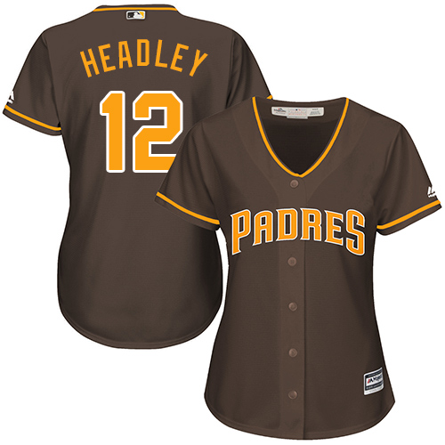 Women's Majestic San Diego Padres #12 Chase Headley Replica Brown Alternate Cool Base MLB Jersey