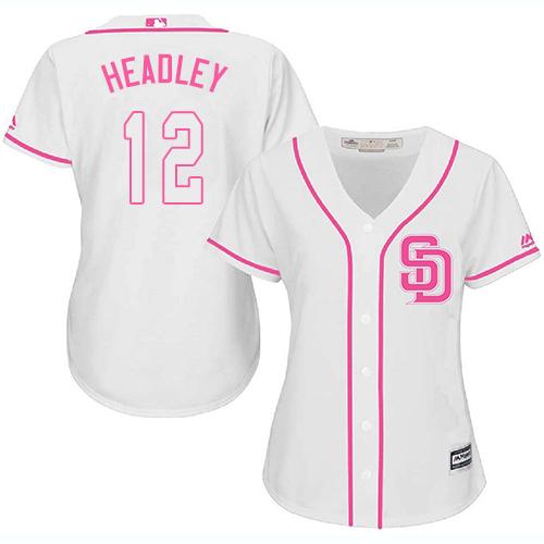 Women's Majestic San Diego Padres #12 Chase Headley Replica White Fashion Cool Base MLB Jersey