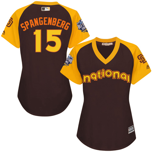 Women's Majestic San Diego Padres #15 Cory Spangenberg Authentic Brown 2016 All-Star National League BP Cool Base Cool Base MLB Jersey