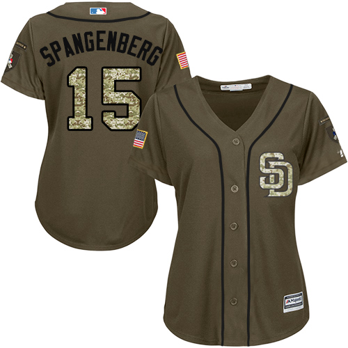 Women's Majestic San Diego Padres #15 Cory Spangenberg Authentic Green Salute to Service Cool Base MLB Jersey