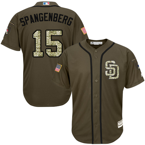 Youth Majestic San Diego Padres #15 Cory Spangenberg Authentic Green Salute to Service Cool Base MLB Jersey