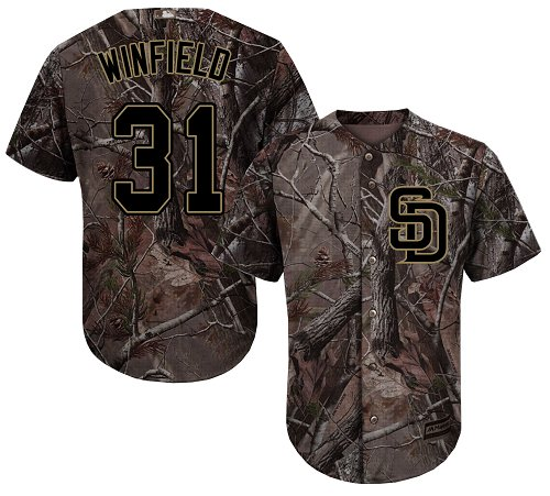 Men's Majestic San Diego Padres #31 Dave Winfield Authentic Camo Realtree Collection Flex Base MLB Jersey
