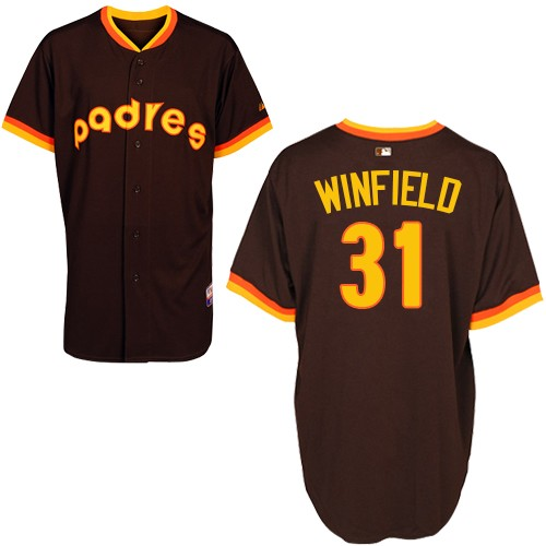 Men's Majestic San Diego Padres #31 Dave Winfield Authentic Coffee 1984 Turn Back The Clock MLB Jersey