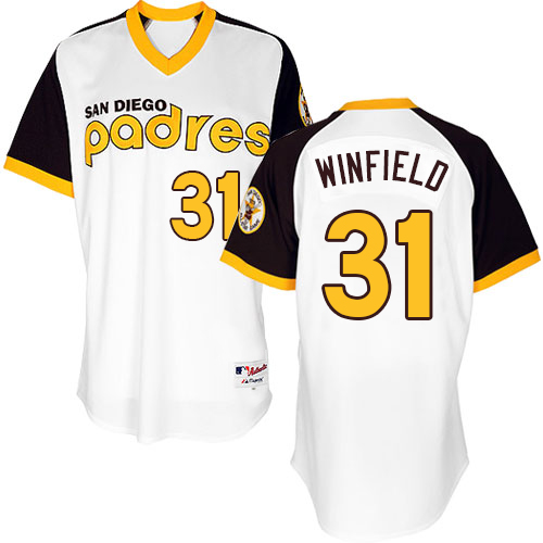 Men's Majestic San Diego Padres #31 Dave Winfield Authentic White 1978 Turn Back The Clock MLB Jersey