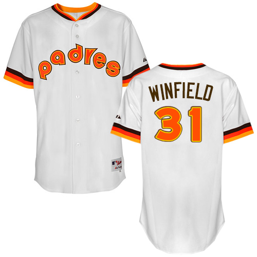 Men's Majestic San Diego Padres #31 Dave Winfield Authentic White 1984 Turn Back The Clock MLB Jersey