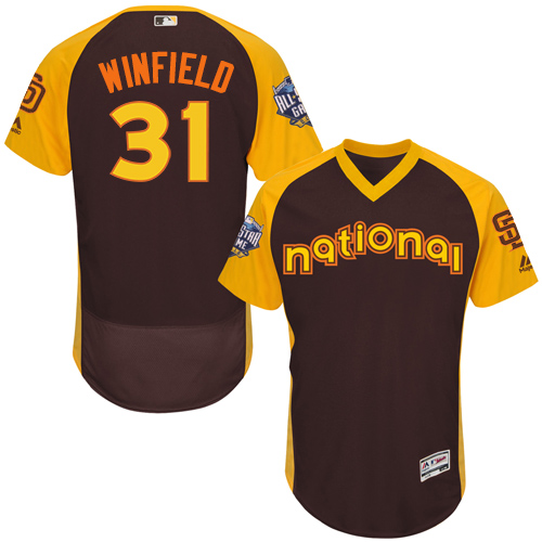 Men's Majestic San Diego Padres #31 Dave Winfield Brown 2016 All-Star National League BP Authentic Collection Flex Base MLB Jersey