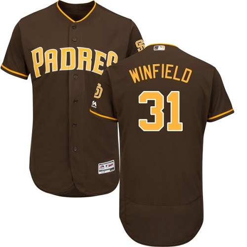 Men's Majestic San Diego Padres #31 Dave Winfield Brown Alternate Flex Base Authentic Collection MLB Jersey