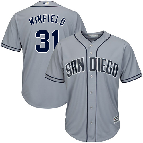 Men's Majestic San Diego Padres #31 Dave Winfield Replica Grey Road Cool Base MLB Jersey