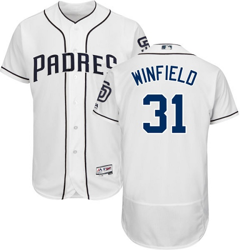 Men's Majestic San Diego Padres #31 Dave Winfield White Home Flex Base Authentic Collection MLB Jersey