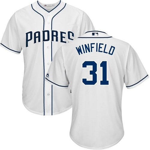 Youth Majestic San Diego Padres #31 Dave Winfield Replica White Home Cool Base MLB Jersey