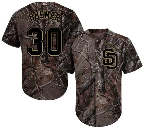 Men's Majestic San Diego Padres #30 Eric Hosmer Authentic Camo Realtree Collection Flex Base MLB Jersey