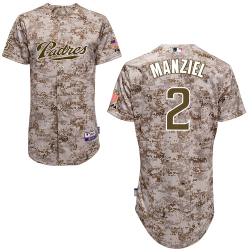 Men's Majestic San Diego Padres #2 Johnny Manziel Authentic Camo Alternate 2 Cool Base MLB Jersey