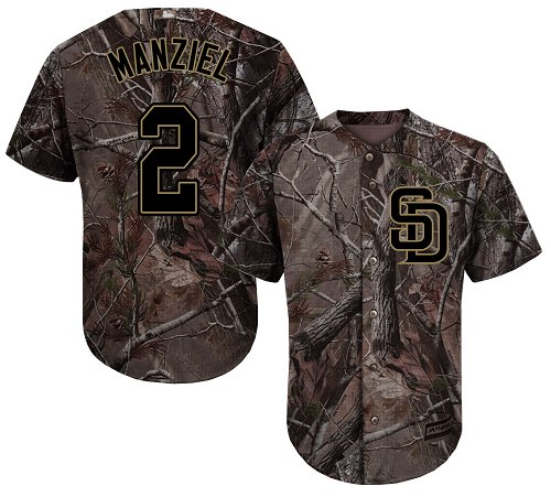 Men's Majestic San Diego Padres #2 Johnny Manziel Authentic Camo Realtree Collection Flex Base MLB Jersey