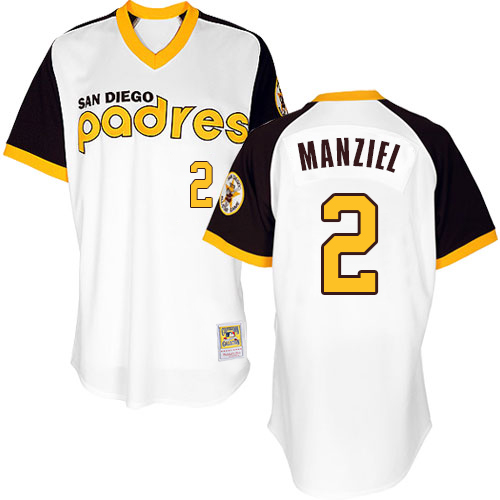 Men's Majestic San Diego Padres #2 Johnny Manziel Authentic White 1978 Turn Back The Clock MLB Jersey