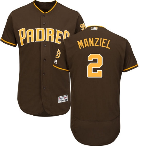 Men's Majestic San Diego Padres #2 Johnny Manziel Brown Alternate Flex Base Authentic Collection MLB Jersey