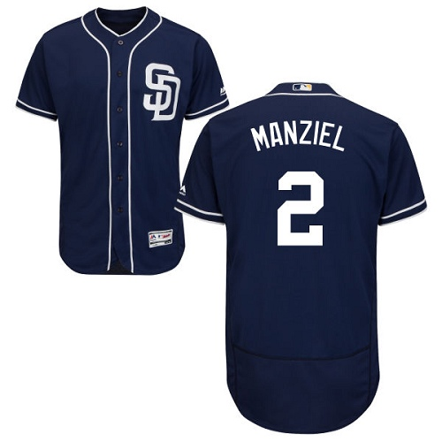 Men's Majestic San Diego Padres #2 Johnny Manziel Navy Blue Alternate Flex Base Authentic Collection MLB Jersey