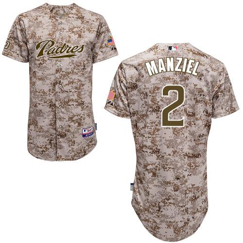Men's Majestic San Diego Padres #2 Johnny Manziel Replica Camo Alternate 2 Cool Base MLB Jersey