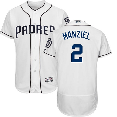 Men's Majestic San Diego Padres #2 Johnny Manziel White Home Flex Base Authentic Collection MLB Jersey