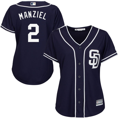 Women's Majestic San Diego Padres #2 Johnny Manziel Authentic Navy Blue Alternate 1 Cool Base MLB Jersey