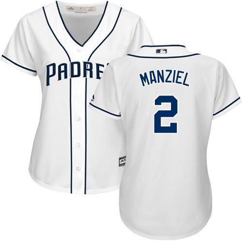 Women's Majestic San Diego Padres #2 Johnny Manziel Authentic White Home Cool Base MLB Jersey