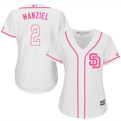 Women's Majestic San Diego Padres #2 Johnny Manziel Replica White Fashion Cool Base MLB Jersey