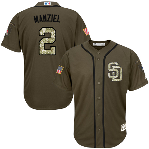 Youth Majestic San Diego Padres #2 Johnny Manziel Authentic Green Salute to Service Cool Base MLB Jersey