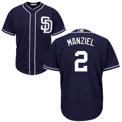 Youth Majestic San Diego Padres #2 Johnny Manziel Authentic Navy Blue Alternate 1 Cool Base MLB Jersey