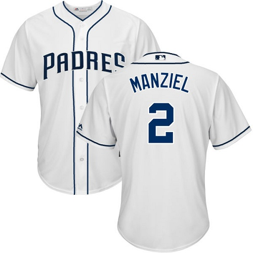 Youth Majestic San Diego Padres #2 Johnny Manziel Authentic White Home Cool Base MLB Jersey