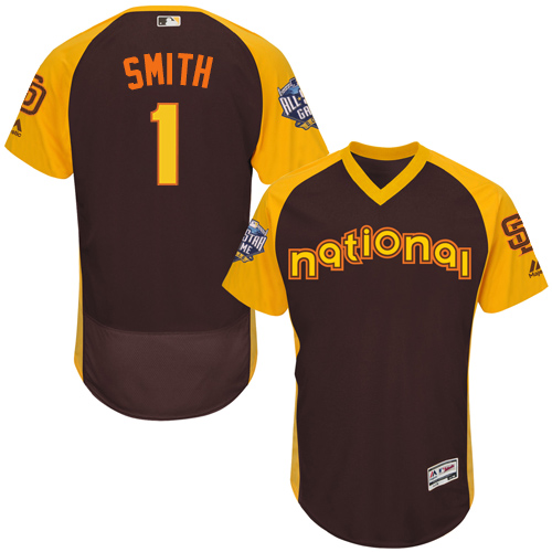 Men's Majestic San Diego Padres #1 Ozzie Smith Brown 2016 All-Star National League BP Authentic Collection Flex Base MLB Jersey