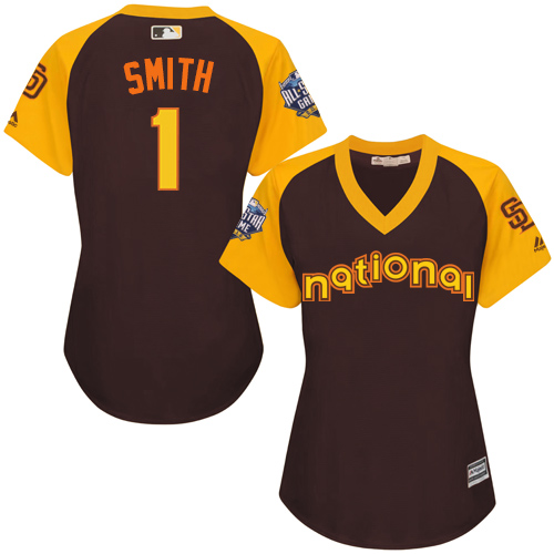 Women's Majestic San Diego Padres #1 Ozzie Smith Authentic Brown 2016 All-Star National League BP Cool Base Cool Base MLB Jersey