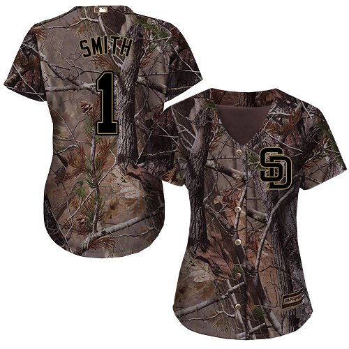 Women's Majestic San Diego Padres #1 Ozzie Smith Authentic Camo Realtree Collection Flex Base MLB Jersey
