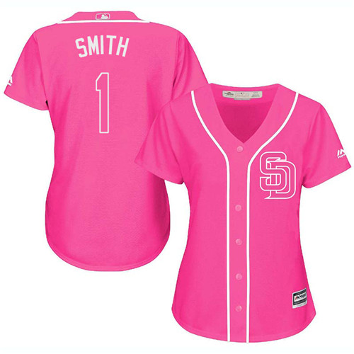 Women's Majestic San Diego Padres #1 Ozzie Smith Authentic Pink Fashion Cool Base MLB Jersey