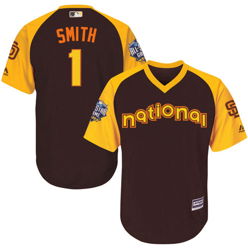 Youth Majestic San Diego Padres #1 Ozzie Smith Authentic Brown 2016 All-Star National League BP Cool Base Cool Base MLB Jersey